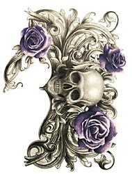 10 Pcs Purple Rose Skull Temp Tattoo Stickers