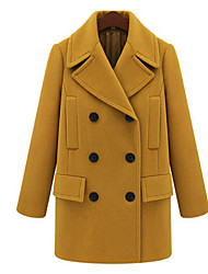 Women's Solid Color Yellow Coats & Jackets , Casual V-Neck Long Sleeve