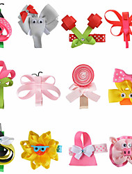 12 Pcs Hair Bows Animal Sweet Candy Grosgrain Ribbon Flower Hair Clips Boutique Hairbows Allige Hair Clip Handwear AC035