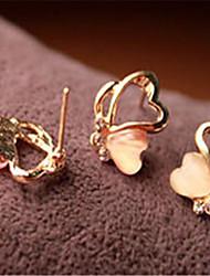 Korean Fashion Diamond Stud Earrings Opal Butterfly Casual Pink Gemstone & Crystal Stud Earrings