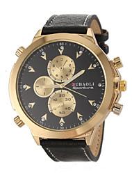 JUBAOLI® Men's Military Design Fashion Gold Case Leather Band Quartz Wrist Watch Cool Watch Unique Watch