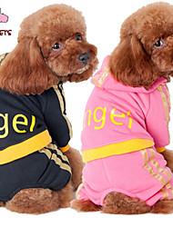Gatos / Perros Abrigos / Saco y Capucha / Pantalones Negro / Rosado Ropa para Perro Invierno Letra y Número Boda / Cosplay