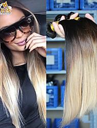 3Pcs/Lot14''-26'' Eurasian Virgin Hair Human Hair Extensions Silk Straight 3tones 1B/4/27  Ombre Hair Weave