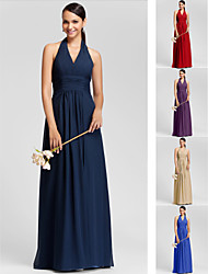 Floor-length Chiffon Bridesmaid Dress - Ruby / Grape / Royal Blue / Champagne / Dark Navy Plus Sizes / Petite Sheath/ColumnHalter /