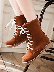Women's Shoes Fleece Low Heel Motorcycle Boots/Round Toe Boots Casual Black/Brown/Beige