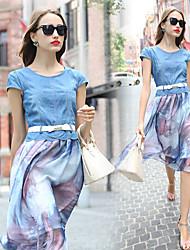 Women's Print Blue Dresses , Casual Round Short Sleeve