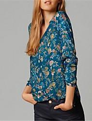Women's Vintga Sexy Casual Print  Long Sleeve Shirt ,Cotton