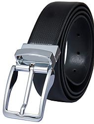 Fondsun Mens New Black Belt Fashion Business Casual Style Genuine Leather 3.3cm Width (5)