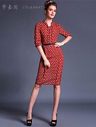 Women's Polka Dot Dress , Casual/Party V Neck ½ Length Sleeve