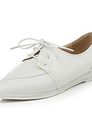 Zapatos de mujer - Tacón Cuña - Puntiagudos - Oxfords - Vestido - Semicuero - Blanco / Plata