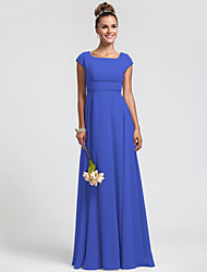 Sheath / Column Square Neck Floor Length Chiffon Bridesmaid Dress with Sash / Ribbon Pleats by LAN TING BRIDE®