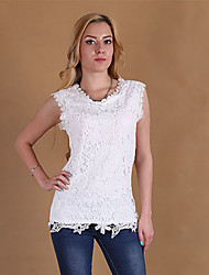 Women's Solid Pink/White/Black Vest , Round Neck Sleeveless Lace