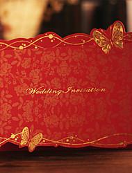 Имя, надпись на заказ Тройной сгиб Свадебные приглашения Пригласительные билеты-30 Шт./набор С бабочками Картон