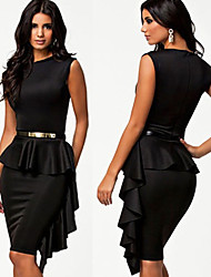 Women's Solid Color Black Dresses , Sexy Round Sleeveless