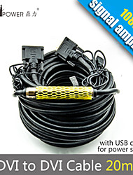 65FT DVI 20m 24+1M/M Extender Cable with IC Amplifier Signal Chip For HDTV PC Moitor