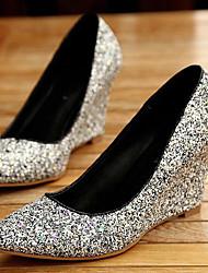 Women's Shoes Wedge Heel Wedges Pumps/Heels Casual Black/Gold