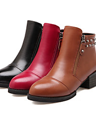 U®Women's Shoes Leather Chunky Heel Fashion Boots Boots Office & Career/Party & Evening/Casual Black/Brown/Red