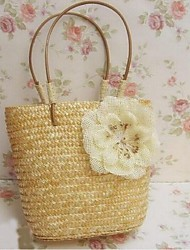 Women 's Straw Bucket Tote - Beige/Pink/Green/Yellow