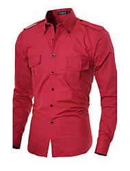 Men's Color Block Work / Formal Shirt,Cotton / Polyester Long Sleeve Black / Red / Gray
