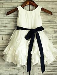 Trapèze Mi-long Robe de Demoiselle d'Honneur Fille - Satin / Taffetas Sans Manches Décolleté avec