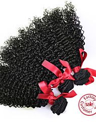 EVET Kinky Curly Virgin Hair 6A Brazilian Human Hair 3pcs Bundles Curly Extensions Natural Color Free Shipping