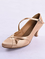 Fashion Women's Satin Upper Ballroom Dance Shoes Mid Heel