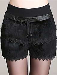 Women Raccoon Fur Pants , Lined
