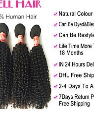 """4pcs lot 12 """"-30"""" capelli vergini brasiliani riccio crespo nero naturale # 1b ricci capelli umani del tessuto fasci"""