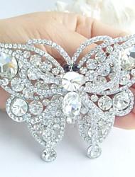 Gorgeous 3.74 Inch Silver-tone Clear Rhinestone Crystal Butterfly Brooch Pendant Bridal Bouquet Wedding Deco