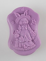 Rabbit Mother and Son Shaped Soap Molds Wedding Mould Fondant Cake Chocolate Silicone Mold, Decoration Tools Bakeware