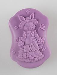 mère de lapin et en forme de fils moules à savon moule en silicone moule à cake de mariage de fondant au chocolat, des outils de