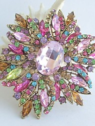 Gorgeous 3.94 Inch Gold-tone Multicolor Rhinestone Crystal Flower Brooch Art Deco