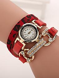Mujer Reloj de Moda Reloj Pulsera Cuarzo La imitación de diamante Reloj Casual Piel Banda LeopardoNegro Blanco Azul Rojo Marrón Gris Rosa