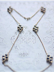Diamond Pearl Leaf Flower Sweater Chain Cute/Casual Imitation Pearl Pendant Necklace