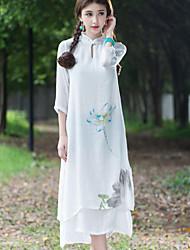 Mulheres Vestido Médio Manga ¾ Colarinho Chinês Mulheres