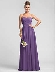 Formal Evening / Military Ball / Wedding Party Dress A-line Sweetheart Floor-length Chiffon with Criss Cross / Ruching