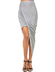Women's Solid Pink/Blue/Black Skirt,Asymmetrical Sexy