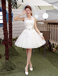Ball Gown Wedding Dress-Short/Mini Halter Tulle