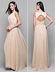 Lanting Floor-length Chiffon Bridesmaid Dress - Champagne Sheath/Column Scoop