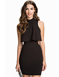 Women's Top Overlay High Neck Little Black Dress