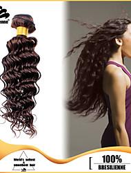 4pcs pacotes brasileiras do cabelo onda profundas tece marrom escuro 100% não transformados brasileira da trama do cabelo humano