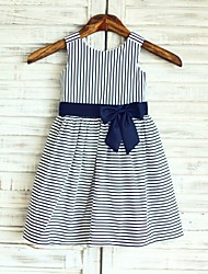 A-line Navy Blue Stripe Knee-length Flower Girl Dress - Cotton Sleeveless