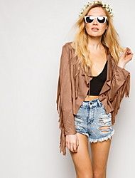 Women Faux Leather Top Short Jacket