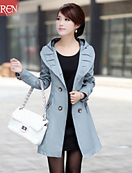 Muairen®Women'S Slim Double-Breasted Hooded Jacket Child Casual