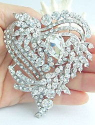 Wedding 3.15 Inch Silver-tone Clear Rhinestone Crystal Love Heart Brooch Bridal Bouquet