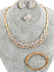 WesternRain Women's Gold-plated  Rhinestone  plume Jewelry Set