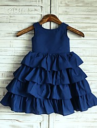 Princess Navy Blue Knee-length Flower Girl Dress - Taffeta Sleeveless