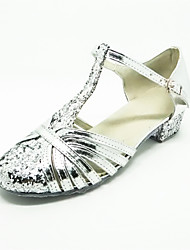 Non Customizable Kids' Dance Shoes Latin Satin Low Heel Silver