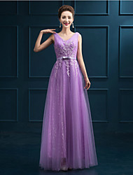 Formal Evening Dress - Ruby / Pearl Pink / Purple A-line V-neck Floor-length Tulle