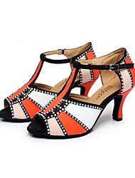 Non Customizable Women's Dance Shoes Latin/Salsa Leatherette Flared Heel Green/Red/Orange